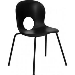Hercules Designer Black Plastic Stack Chair with Black Coated Frame