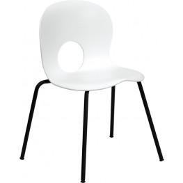Hercules Designer White Plastic Stack Chair with Black Frame Finish