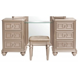 Dynasty Gold Metallic Vanity with Stool