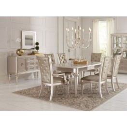 Dynasty Gold Metallic Extendable Rectangular Leg Dining Room Set