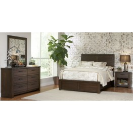 Ruff Hewn Brown Panel Bedroom Set