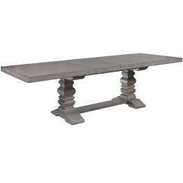Prospect Hill Gray Rectangular Extendable Pedestal Dining Table