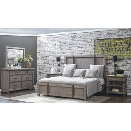 Prospect Hill Gray Panel Metal Strap Bedroom Set