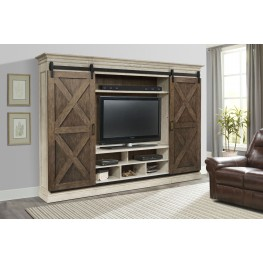 Savannah 5 Piece Sliding X Barn Door Entertainment Wall Unit