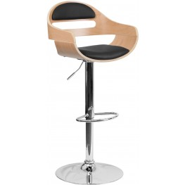 Beech Bentwood Adjustable Height Bar Stool with Black Vinyl Seat