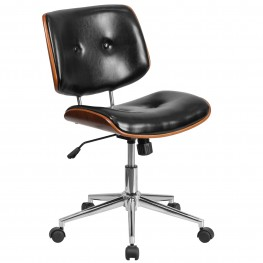 Black Ergonomic Wood Swivel Task Chair