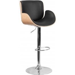 Beech Bentwood Adjustable Height Bar Stool With Curved Black Vinyl Seat (Min Order Qty Required)