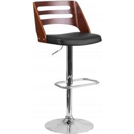 32382 Walnut Bentwood Adjustable Height Bar Stool