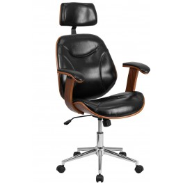 Tall Black Executive Wood Swivel Office Chair