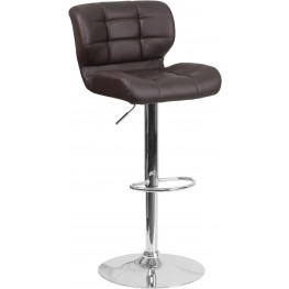 Contemporary Tufted Brown Vinyl Adjustable Height Bar Stool (Min Order Qty Required)