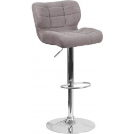 Contemporary Tufted Gray Fabric Adjustable Height Bar Stool