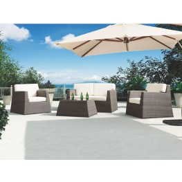 Aruba 4-Piece Outdoor Wicker Set with White Cushions