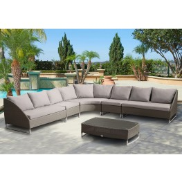 Bahamas 6-Piece Gray Wicker Sectional Set with Taupe Cushions