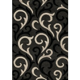 Shaggy Charcoal and Beige Damask Hearts Medium Rug