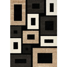 Shaggy Black and Charcoal and Beige Frames Medium Rug