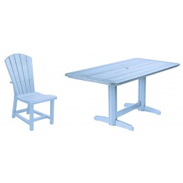 "Generations Sky Blue 36"" Double Pedestal Dining Room Set"
