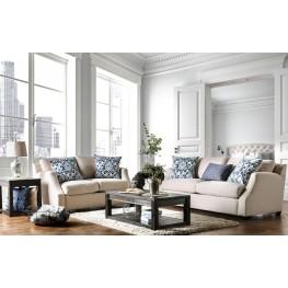 Beltran Blue and Beige Living Room Set