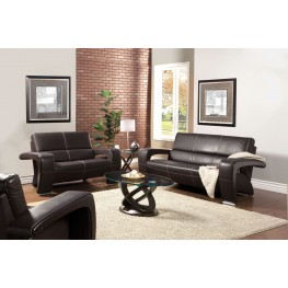 Enez Espresso Leatherette Living Room Set