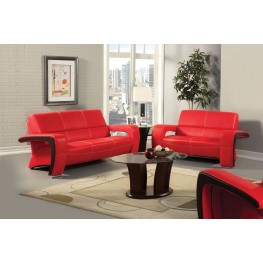 Enez Red Leatherette Living Room Set
