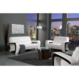 Enez White Leatherette Living Room Set