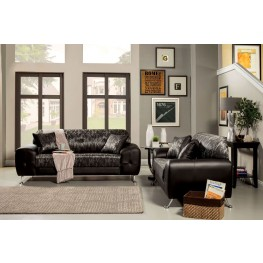 Avdira Silver Typographic Fabric Living Room Set