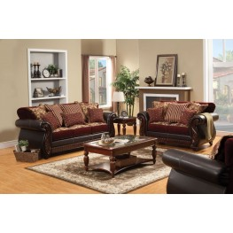 Franklin Burgundy Fabric and Leatherette Living Room Set