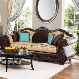 Wexford Beige Gold Fabric and Brown Sofa
