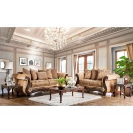 Nicanor Tan and Gold Living Room Set