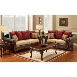 Banstead Tan and Espresso Living Room Set