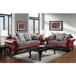 Myron Red and Light Gray Living Room Set