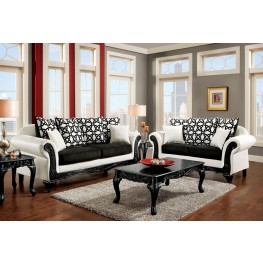 Dolphy Black and White Leatherette Living Room Set