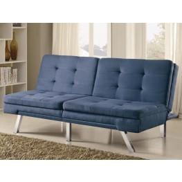 300212 Blue Microfiber Split Back Tufted Sofa Bed