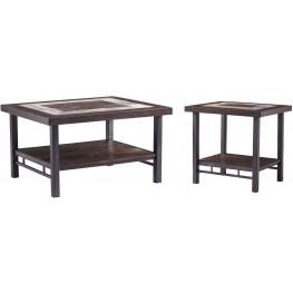 Gallivan Two-Tone Brown Rectangular Occasional Table Set