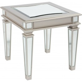 Tessani Silver Rectangular End Table
