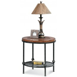 Bentley Tobacco and Pewter Round End Table