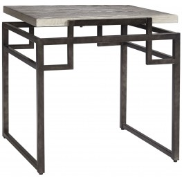 Isman Silver/Black Square End Table