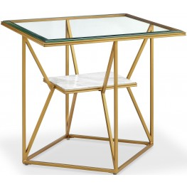 Dixon Gold Leaf and White Marble Rectangular End Table