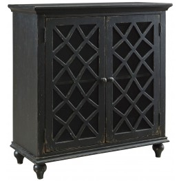 Mirimyn Antique Black Door Accent Cabinet