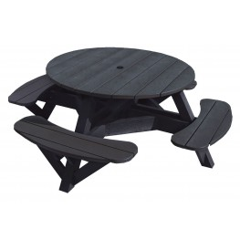 "Generations Black 51"" Round Picnic Table"