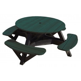 "Generations Green 51"" Round Black Frame Picnic Table"