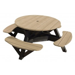 "Generations Beige 51"" Round Black Frame Picnic Table"