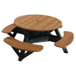 "Generations Cedar 51"" Round Black Frame Picnic Table"