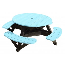 "Generations Aqua 51"" Round Black Frame Picnic Table"
