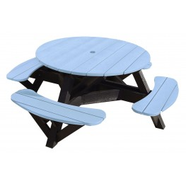 "Generations Sky Blue 51"" Round Black Frame Picnic Table"