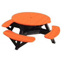 "Generations Orange 51"" Round Black Frame Picnic Table"