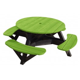 "Generations Kiwi Lime 51"" Round Black Frame Picnic Table"