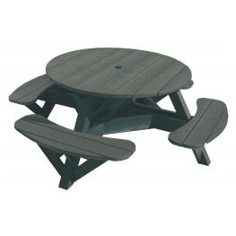 """Generations Slate 51"""" Round Black Frame Picnic Table"""