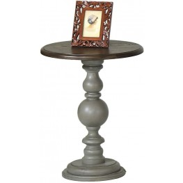 Colonnades Weathered Grey and Oak Chairside Table