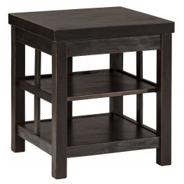 Gavelston Vintage Rub-Through Black Square End Table