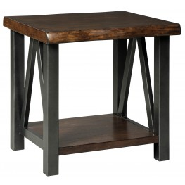 Esmarina Walnut Brown Rectangular End Table